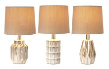 3 pc. ppk. Ivory Reactive Glaze Mini Accent Lamp. 40W Max. (3 pc. ppk.)