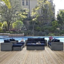 Summon 9 Piece Outdoor Patio Sunbrella® Sectional Set in Canvas Navy