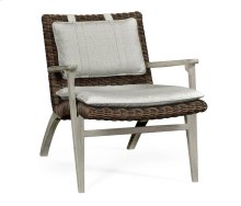 Navajo Sand & Rattan Lounge Chair, Upholstered in Standard Outdoor Fabric