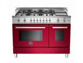 Burgundy 48 6-Burner, Electric Double Oven