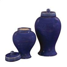 Cobalt Blue Glaze Ceramic Jars w/ Lids - Set of 2