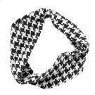Black & White Houndstooth Stretch Headband. Product Image