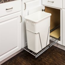 """35 or 50 Quart Single Pullout Waste Container System. 10-1/4"""" x 22"""". Full Extension Ball Bearing Slides. Heavy Duty Wire Construction. 35 or 50 qt Black Polymer Trash Can Sold Separately. Mounts to Floor of Cabinet. Door Mountable (CAN-DOORKIT"""