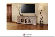 "83"" TV Stand w/3 glass doors, 2 wooden doors & 5 drawers"