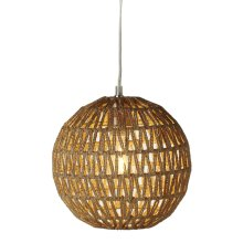 Round Jute Wrapped Chevron Pendant. 40W Max. Plug-in with Hard Wire Kit Included.