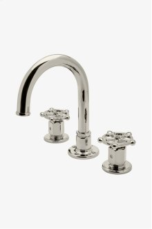 Regulator Gooseneck Three Hole Deck Mounted Lavatory Faucet with Metal Wheel Handles STYLE: RGLS02