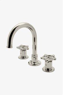 Regulator Gooseneck Three Hole Deck Mounted Lavatory Faucet with Metal Wheel Handles STYLE: RGLS02