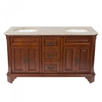 60 inches Width Double Vanity - Brown Finish Product Image