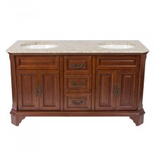 60 inches Width Double Vanity - Brown Finish