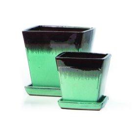 Franc Petits Pots w/ attached saucer, Black/Aqua - Set of 2 (Min 4 sets)