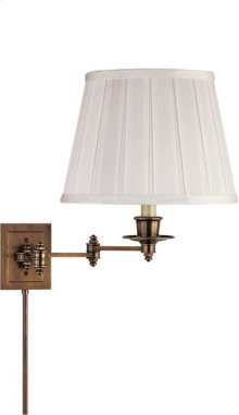 Visual Comfort S2000HAB-S Studio 19 inch 100 watt Hand-Rubbed Antique Brass Swing-Arm Wall Light in Silk