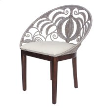 Ambrosia KD Rattan Chair Dark Brown Legs, Washed Gray