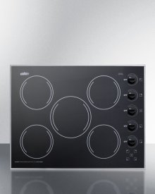 """27"""" Wide 5-burner Radiant Cooktop Made In the USA In Smooth Black Ceramic Glass Finish"""