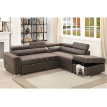 Chaise Sectional with Storage and Pull Out Bed