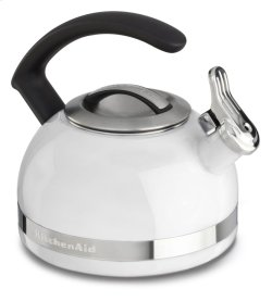 2.0-Quart Stove Top Kettle with C Handle - White