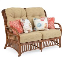 High Back Rattan Loveseat Pecan Glaze 5502