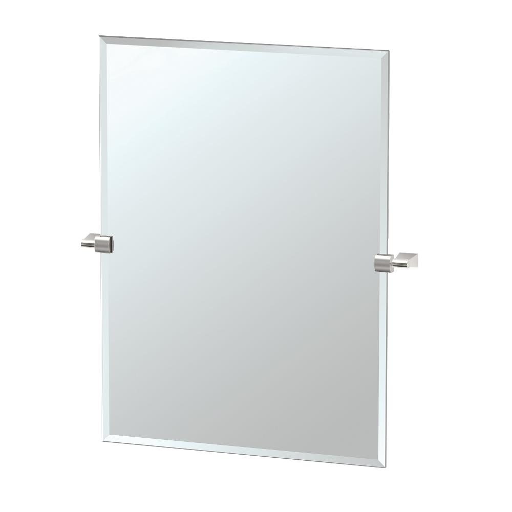 Bleu Rectangle Mirror in Satin Nickel