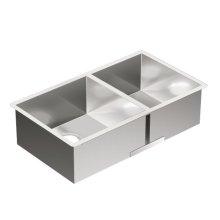 1800 Series 31-1/2x18 stainless steel 18 gauge double bowl sink