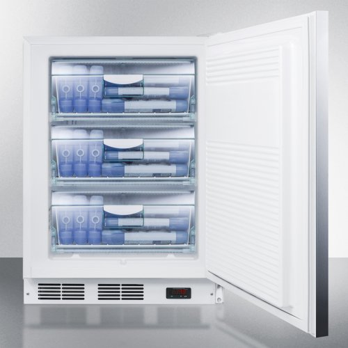 ADA Compliant Freestanding Medical All-freezer Capable of -25 C Operation, With Lock, Wrapped Stainless Steel Door and Horizontal Handle