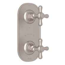 "Satin Nickel Verona 1/2"" Thermostatic/Diverter Control Trim with Verona Series Only Cross Handle"