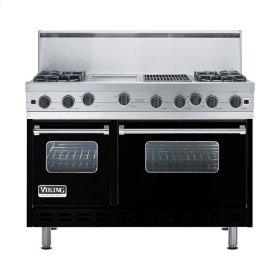 """Black 48"""" Open Burner Range - VGIC (48"""" wide, four burners 12"""" wide griddle/simmer plate 12"""" wide char-grill)"""