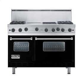 "Black 48"" Open Burner Range - VGIC (48"" wide, four burners 12"" wide griddle/simmer plate 12"" wide char-grill)"