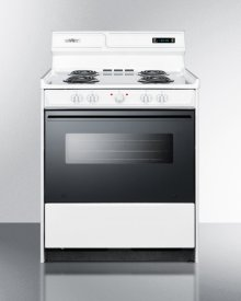 "Deluxe 220v Electric Range In 30"" Width With Digital Clock/timer, Black See-through Glass Oven Door and Light"