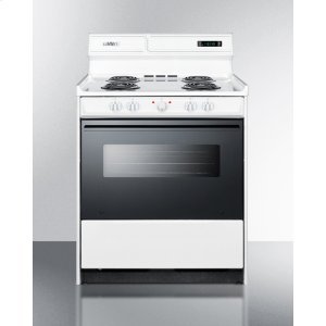 """SummitDeluxe 220v Electric Range In 30"""" Width With Digital Clock/timer, Black See-through Glass Oven Door and Light"""