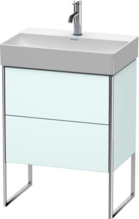 Vanity Unit Floorstanding Compact, Light Blue Matt Decor