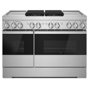 "JennAirNOIR 48"" Dual-Fuel Professional Range with Dual Chrome-Infused Griddles"