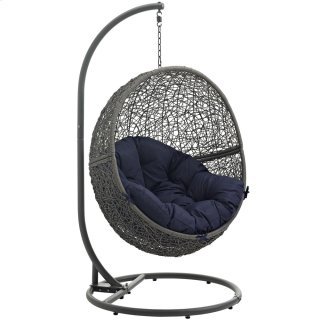 Hide Outdoor Patio Swing Chair With Stand in Gray Navy