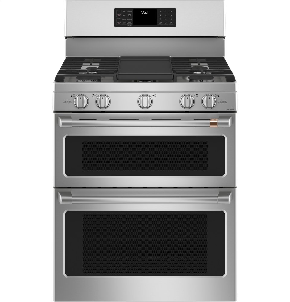 """Cafe Appliances30"""" Smart Free-Standing Gas Double-Oven Range With Convection"""
