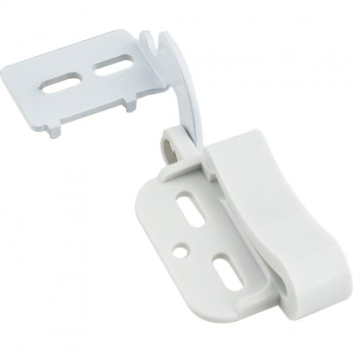 "Self-Closing Non-Wrap Concealed Hinge White Plastic 1/2"" Overlay"