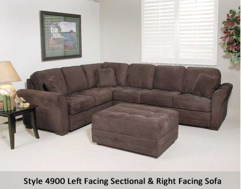 4900lfsc02 In By Hughes Furniture St Robert Mo Padded Walnut 4900lfsc Left Facing Section
