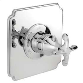 Satin-Gold Square Thermostatic Trim Plate with Handle