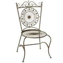 Verdigris Fleur de Lis Medallion Chair