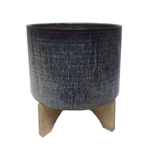 "Ceramic 12"" Planter On Stand, Dark Burgundy"