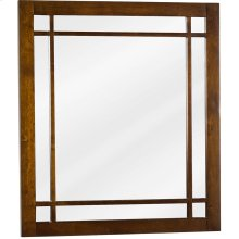"21"" x 24"" Chestnut mirror with fretwork detail and beveled glass"