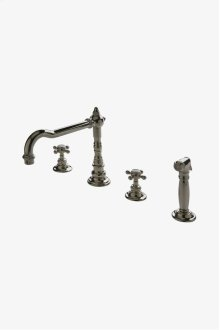 Julia Three Hole High Profile Kitchen Faucet, Metal Cross Handles and Spray STYLE: JUKM18