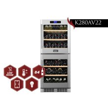 KUCHT 84-Bottle Dual Zone Wine Cooler Built-in with Compressor in Stainless Steel