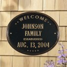 """Welcome Oval """"Family"""" Established Plaque Antique Brass Product Image"""