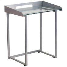 Contemporary Clear Tempered Glass Desk with Raised Cable Management Border and Silver Metal Frame