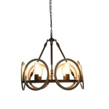 6-Light Industrial Chandelier in Oil Rubbed Bronze