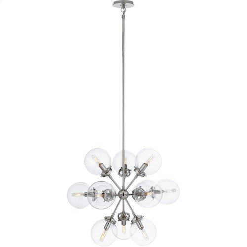 Visual Comfort S5270PN-CG Ian K. Fowler Bistro 12 Light 23 inch Polished Nickel Pendant Ceiling Light, Ian K. Fowler, Small, Round, Clear Glass