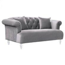 Armen Living Elegance Contemporary Loveseat in Grey Velvet with Acrylic Legs