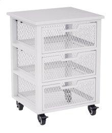 Clayton 3 Drawer Rolling Cart In White Metal Finish Frame, Fully Assembled.