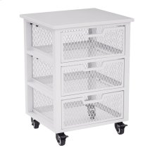 Clayton 3 Drawer Rolling Cart In White Metal Finish Frame, Fully Assembled.