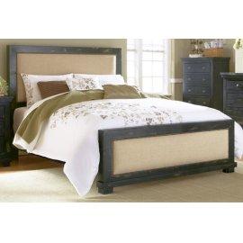 King Distressed Black Upholstered Bed