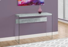 ACCENT TABLE - GREY CEMENT WITH TEMPERED GLASS