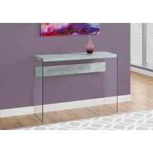 """ACCENT TABLE - 44""""L / GREY CEMENT / TEMPERED GLASS"""
